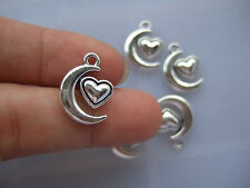 20 x Tibetan Silver Moon Heart Charms Pendants Beads For Necklace Making 14x18mm