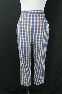 "VTG 1950s Plaid Cigarette Pants W28"" H40"" High Waist Retro"