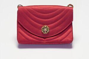 Vintage 1990's CHANEL CC Red Satin Camellia Gripoix Clasp Shoulder Clutch Bag