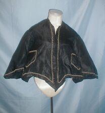 Antique Dress Jacket Victorian 1860's Beaded Black Silk Mourning Jacket