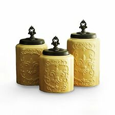 Antique Fleur De Lis Vintage Canister Set Storage Coffee Tea Sugar Jar Container