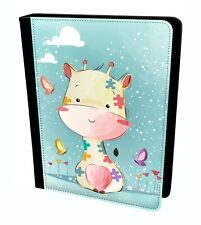 Hand Draw Cute Happy Giraffe Animal Butterfly Tablet Leather Case Cover