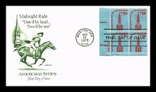 DR JIM STAMPS US MIDNIGHT RIDE AMERICANA UNSEALED FDC COVER PLATE BLOCK