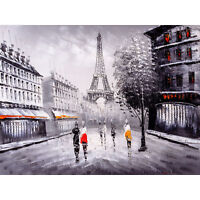 Eiffel Tower In Paris City Streets Large Wall Art Print Canvas Premium Poster