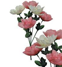 "Lot of 120 Pink & Cream Peony 12"" Bush Wedding Home Decor Craft Silk Flower"