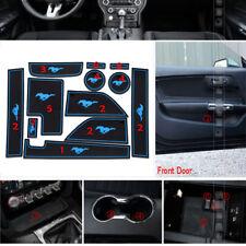 Non-slip Inner Door Slot Pad Rubber Cup Holder Mat-Blue For Ford Mustang 2015-18