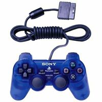 Sony PS2 Ocean Blue Clear Wired Controller OEM DualShock PlayStation 2 TESTED