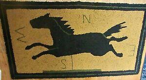 "ANTIQUE FOLK ART PRIMITIVE HOOKED RUG Horse WEATHERVANE 44"" x 24"" Wall Hanging"