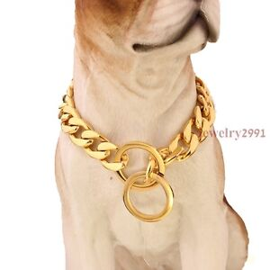 13mm Silver Gold Firgaro Chain Cuban 316L Stainless Steel Dog Chain Pet Collar