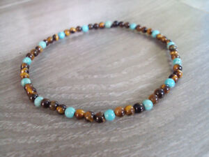 Tigereye and turquoise anklets,stone anklets,men and women anklets