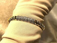 ITALIAN SILVER SCULPTED CABLE CRYSTAL CUFF BRACELET 18K GOLD PLATED AV (M1255-29