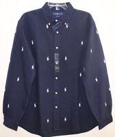 Polo Ralph Lauren Mens Navy Blue Polo Pony Logo Button-Front Shirt NWT Size S