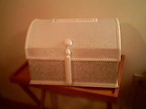 """White Fabric & Tassel Accent Wedding Card Box 10"""" x 15"""" x 11"""" Chest Style Party"""