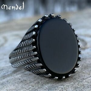 MENDEL Mens Stainless Steel Fashion Art Deco Black Onyx Stone Ring Men Size 7-13
