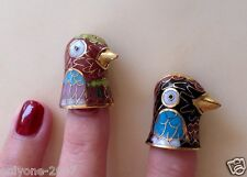 SET OF 2 COLLECTABLE VINTAGE HAND MADE ENAMELED GILDED THIMBLES!