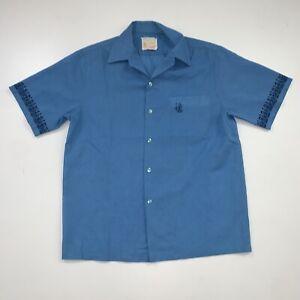 Vintage 80s Iolani Hawaii Shirt Size Adult L Tiki Warrior Blue Hawaiian Aloha