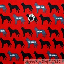 BonEful Fabric Cotton Quilt Red Black B&W DOG German Shepherd Stripe Boy L SCRAP