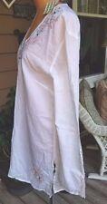 Bohemian White Cotton India Embroidered Tunic Blouse Size S/M NWT