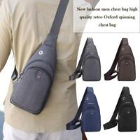 Vintage Pure Color Shoulder Packs Men Oxford Cloth Zip Crossbody Chest Bags Tote