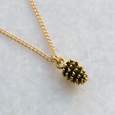 """Pine Cone Necklace Gold Pinecone Charm 18"""" Chain Autumn Wedding Favour Gift UK"""