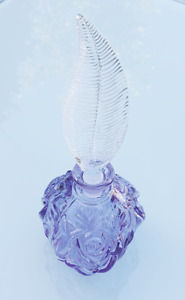 Art Deco Style Glass Lilac Perfume Bottle with Feather Stopper