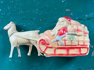 Antique Vintage CELLULOID SANTA Reindeer & Sleigh Christmas Decoration Ornament