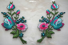 Turquise Blue roses pair flowers floral boutique Embroidered Sew Iron on Patch