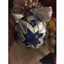 Blue and Silver Christmas Patchwork Ornament Handmade