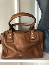 FOSSIL Maddox Chestnut Brown Leather Bag Satchel Purse MED