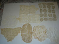 Mixed Lot of 8 Vintage Doilies Crocheted White Cream Tan