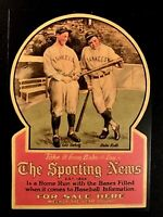 Babe Ruth & Lou Gehrig The Sporting News Advertising Promo CARD