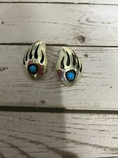 Native American Sterling Silver Turquoise Shadowbox Bear Paw Claw Earrings LFL3
