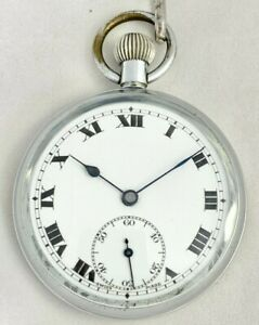 Antique Chrome Plated Swiss Cylinder Pocket Watch with Leather Albert c.1920