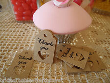 10 Kraft Brown Gift Swing Tags Wedding Favour Mini Heart Bomboniere Thank You