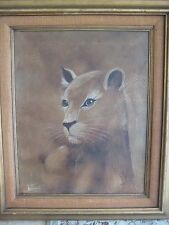 Original Oil Painting Wild Animal On Canvas W/ Wood Frame, Signed By La Tourette