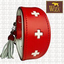 WOZA Premium Greyhound Collar Handmade Full Leather Padded Soft Cow Napa HW39120