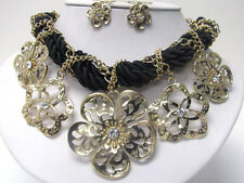 NEW GOLD CHUNKY CRYSTAL FLOWER NECKLACE EARRINGS SET