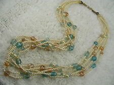 & Pink Glass Bead Necklace (A57) Multi Strand White Bead & Blue