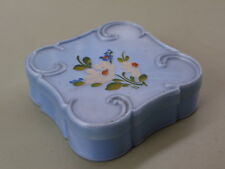 VINTAGE 1950'S LUCITE HAND PAINTED FLOWERS DRESSING TABLE TRINKET PIN BOX  (7)