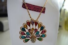 Betsey Johnson Crystal Enamel Peacock Pendant Sweater Chain Necklace