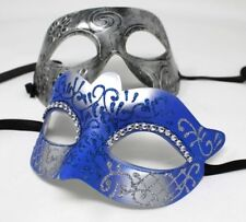 HIS N HERS PAIR OF COUPLES BLUE AND SILVER MASQUERADE PROM FACE PARTY EYE MASKS