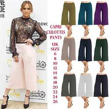 Women Elasticated Waist Plain Wide Leg Flared 3/4 Length Culottes Shorts Palazzo