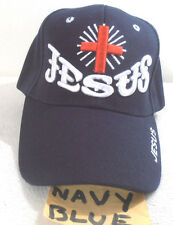 RELIGIOUS BALL CAP  NEW  JESUS WITH CROSS NAVYBLUE STYLE #2 HAT CHRISTIAN