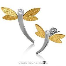 Ohrstecker Libelle groß mit kleinem Zirkon, Edelstahl, Flügel sandgestrahlt Neu