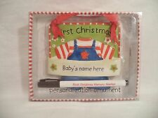 Baby's First Christmas Boy Personalization Ornament Plaque Ceramic Marker NEW