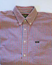 MENS VINTAGE LEE COOPER UNION MADE CLASSIC RED & BLUE SMALL CHECK COTTON SHIRT