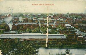 1909 Birdseye View of Lynchburg, Virginia Postcard - AS IS