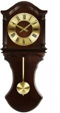 Wood Wall Clock Chocolate Pendulum Chimes Roman Numerals Volume Toggle