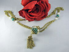 Vintage Gold tone Tassel Necklace w/ Green White Basket of Beads  CAT RESCUE