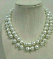 "MIRIAM HASKELL Large Glass Baroque Pearl 18"" Bib Necklace ~ FANTASTIC!"